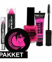 Carnavalskleding roze oplichtende make up set