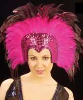 Carnavalskleding roze veren hoofdtooi deluxe