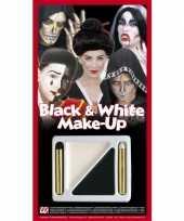 Carnavalskleding schmink kleuren set zwart wit