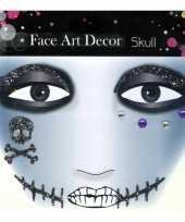 Carnavalskleding schmink sticker skull glitters