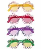 Carnavalskleding sixties bloemetjes bril