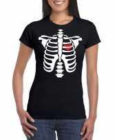 Carnavalskleding skelet halloween t-shirt zwart dames