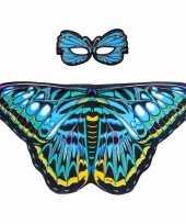 Carnavalskleding speelgoed blauwe aurelia vlinder verkleedset
