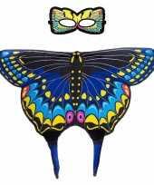 Carnavalskleding speelgoed blauwe zwaluwstaart vlinder verkleedset