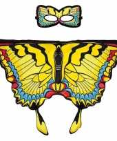 Carnavalskleding speelgoed gele zwaluwstaart vlinder verkleedset