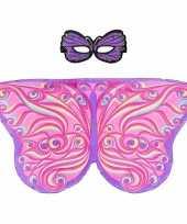 Carnavalskleding speelgoed paars roze vlinder verkleedset