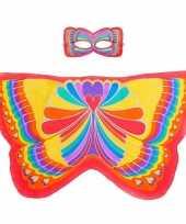 Carnavalskleding speelgoed rode regenboogvlinder verkleedset