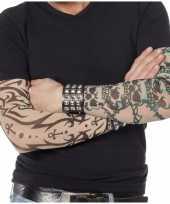 Carnavalskleding tattoo armen bedekking doodskop