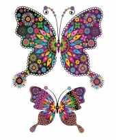 Carnavalskleding tattoo vlinders plak stickers