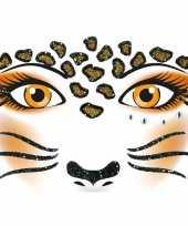 Carnavalskleding thema gezicht folie luipaard sticker vel