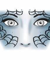 Carnavalskleding thema gezicht folie spinnenweb sticker vel