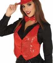 Carnavalskleding toppers pailletten gilet rood dames