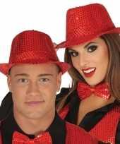 Carnavalskleding toppers verkleed hoed trilby pailletten rood volwassenen