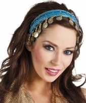 Carnavalskleding turquoise blauwe verkleed feest buikdanseressen hoofdband diadeem dames volwassenen