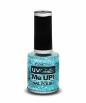Carnavalskleding uv oplichtende glitter nagellak blauw