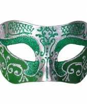 Carnavalskleding venetiaans masker glitter groen zilver