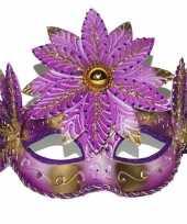 Carnavalskleding venetiaans masker roze goud bloem
