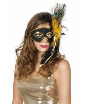 Carnavalskleding venetiaanse oogmaskers zwart pauwenveren