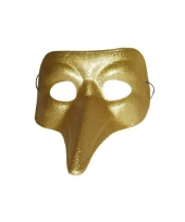 Carnavalskleding venitiaanse snavelmasker goud