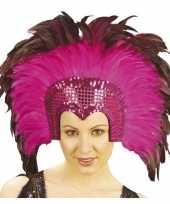 Carnavalskleding verkleed luxe fuchsia roze hoofdtooi veren volwassenen