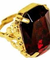 Carnavalskleding verkleed sinterklaas ring goud rood verstelbaar heren volwassenen
