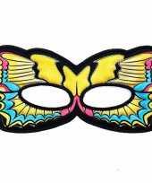 Carnavalskleding vlinder oogmasker gele zwaluwstaart