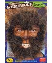 Carnavalskleding weerwolf gezichts haar