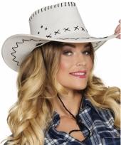Carnavalskleding witte cowboyhoed elroy wilde westen verkleedaccessoire