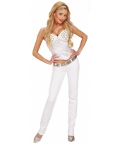 Carnavalskleding witte dames corset studs