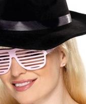 Carnavalskleding witte lamellen bril