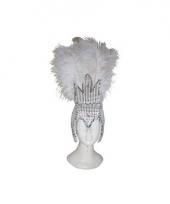 Carnavalskleding witte showgirl hoofdtooi