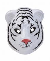 Carnavalskleding witte tijger masker gemaakt plastic d cm