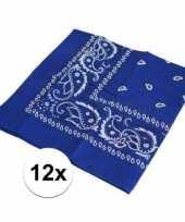 Carnavalskleding x blauwe boeren zakdoeken 10126073