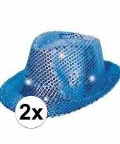 Carnavalskleding x glitter hoeden blauw led verlichting