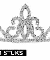 Carnavalskleding x prinsessen tiara zilver plastic dames 10145252