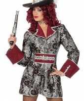 Carnavalskleding zilver rode piraten dames jas