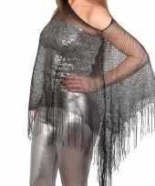 Carnavalskleding zilveren carnaval poncho omslagdoek stola dames