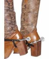 Carnavalskleding zilveren cowboy sporen plastic
