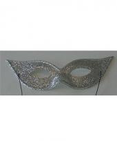 Carnavalskleding zilveren glitter oogmaskers