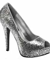 Carnavalskleding zilveren glitter pumps open teen