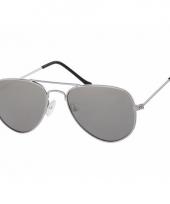 Carnavalskleding zilveren kinder pilotenbrillen model