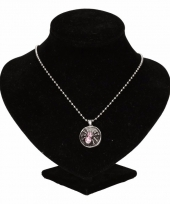Carnavalskleding zilveren metalen ketting roze spinnetje