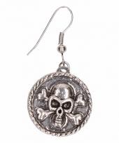 Carnavalskleding zilveren metalen oorbellen doodshoofd chunk
