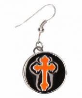 Carnavalskleding zilveren metalen oorbellen oranje kruis chunk