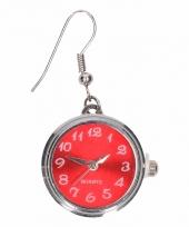Carnavalskleding zilveren metalen oorbellen rode klok chunk