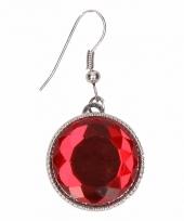 Carnavalskleding zilveren metalen oorbellen rode robijn chunk
