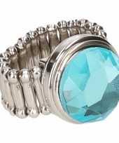 Carnavalskleding zilveren metalen ring blauwe diamant chunk