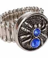 Carnavalskleding zilveren metalen ring blauwe spin