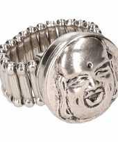 Carnavalskleding zilveren metalen ring boeddha chunk