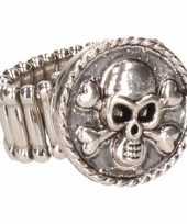 Carnavalskleding zilveren metalen ring doodshoofd chunk